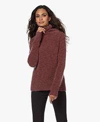 no man's land Mohair Mix Turtleneck Sweater - Wine