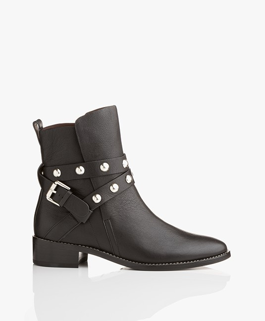 3c7f3cac507d9 See by Chloé Janis Leather Ankle Boots - Black - sb31145a 9280 nikel studs