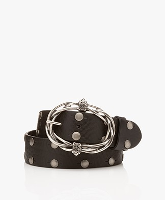 Zadig & Voltaire Mad Studded Leather Belt - Black