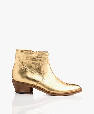 Zadig & Voltaire Pilar Metallic Ankle Boots - Gold
