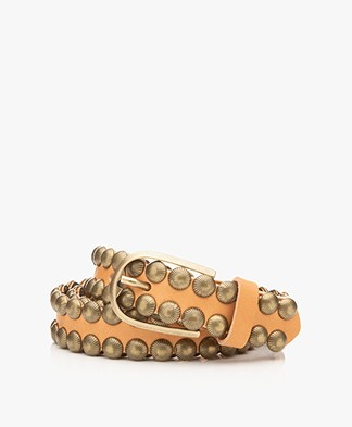Zadig & Voltaire Sea Studded Leather Belt - Tan