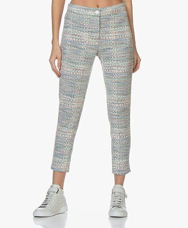 Josephine & Co Bella Tweed Pants - Print Sky Blue