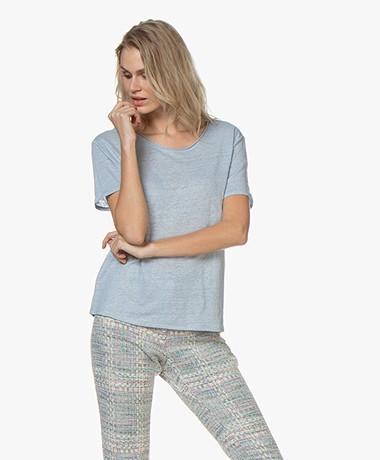 Josephine & Co Bia Linnen T-shirt - Lichtblauw