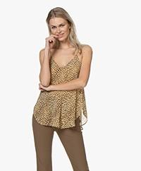 Mes Demoiselles Rosette Viscose Luipaardprint Top - Camel/Zwart