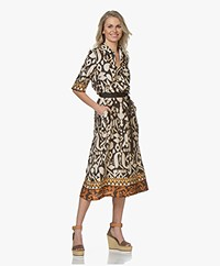 LaSalle Midi Dress with Print - Beige/Black