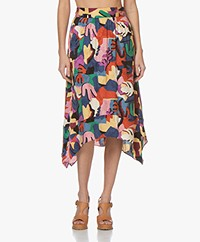 ba&sh Maia Viscose Print Midi Rok - Multi-color