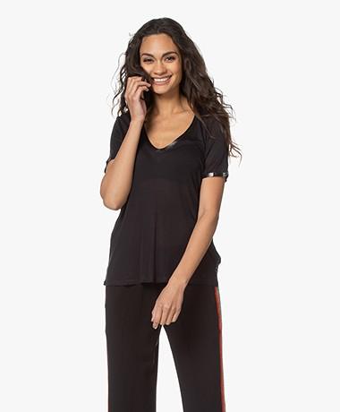 Zadig & Voltaire Kayak Tino Foil Modal T-shirt - Zwart