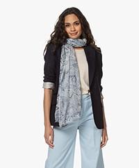 LaSalle Printed Cotton Blend Scarf - Indigo