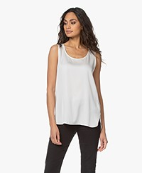 Repeat Sleeveless Silk Stretch Top - Cream