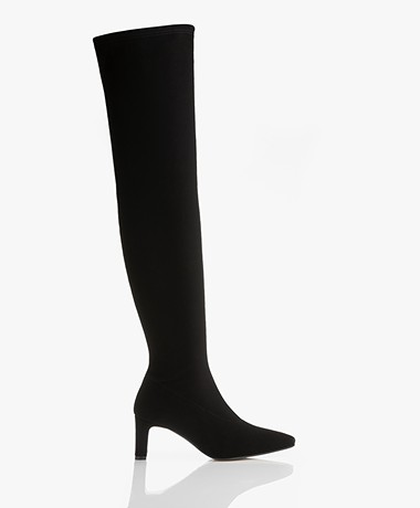 Panara Over-the-knee Stretch Boots with Heel - Black