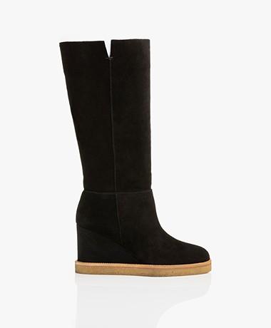 ba&sh Cassandra Slouchy Suede Boots - Black