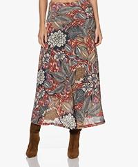KYRA Roelinde Viscose Blend Long A-line Print Skirt - Cinnamon