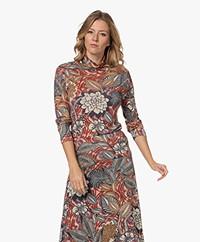 KYRA Soof Viscose Blend Print Turtleneck Sweater - Cinnamon
