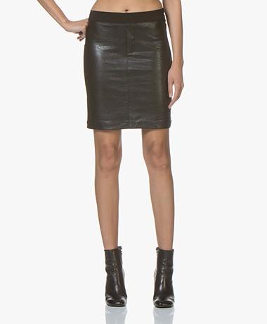 Denham Flex Faux Leather Pencil Skirt - Black