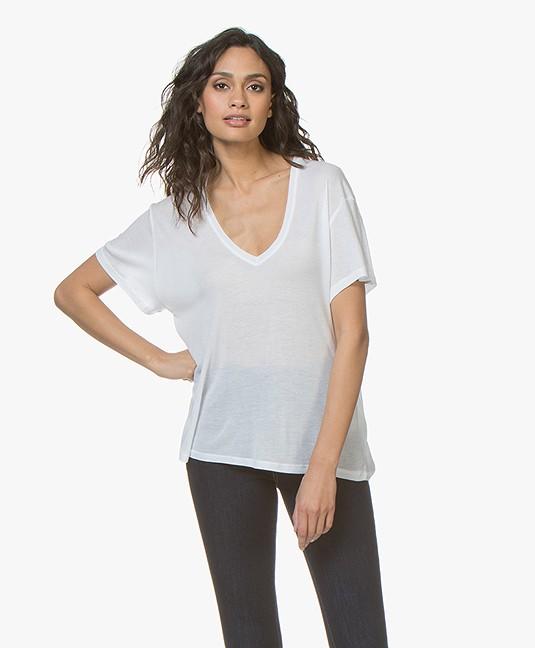 ANINE BING Deep V-neck T-Shirt - Wit