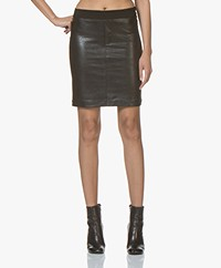 Denham Flex Faux Leather Pencil Skirt - Black