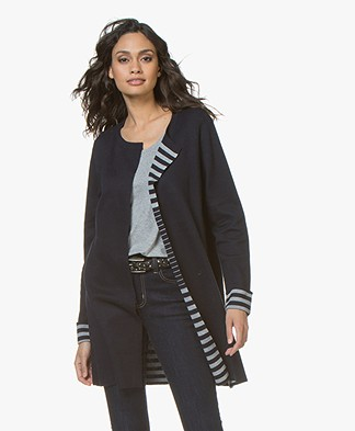 Repeat Open Cardigan with Striped Inside - Navy/Light Grey