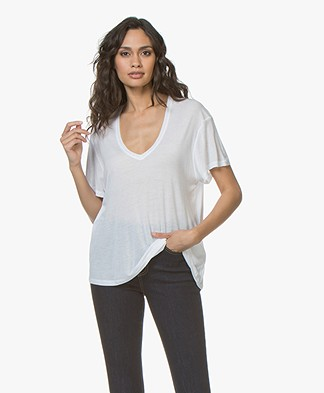 ANINE BING Deep V-neck Silk T-Shirt - Wit