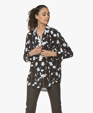 Equipment Eleonore Bloemenprint Blouse - True Black