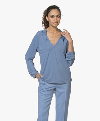 Filippa K Open Front Smock Blouse - Paris Blue