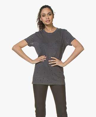 IRO Clay Distressed Linen T-shirt - Grey Denim