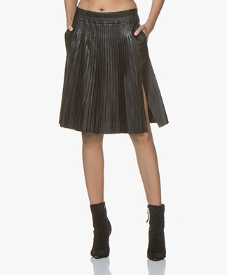 Zadig & Voltaire July Leather Skirt with Pleats - Black