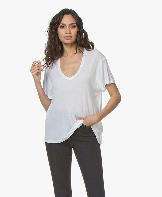 49fce8912b ANINE BING Deep V-neck Silk T-Shirt - White - n141