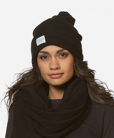 Rag & Bone Addison Merino Wool Blend Beanie - Black