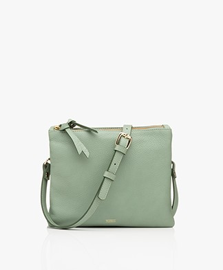 Closed Duo Leren Schoudertas - Grass Green