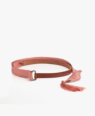 forte_forte Narrow Leather Wrap Belt - Papaya