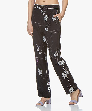 Closed Milla Loose-fit Bloemenprint Broek - Zwart