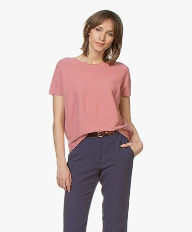 Drykorn Samela Rib Short Sleeve Pullover - Dusty Pink