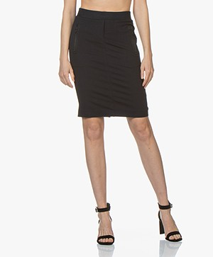 Buzinezz By BRAEZ Twill Jersey Pencil Skirt - Navy