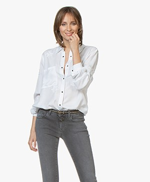 Repeat Tencel Shirt with Stars - White