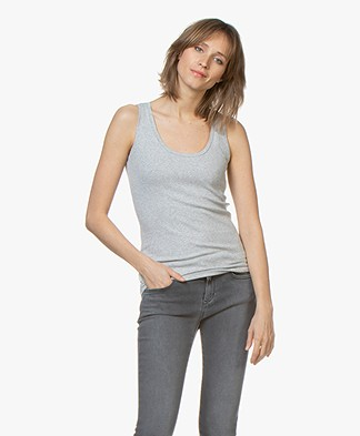 BOSS Teribbed Rib Jersey Tank Top - Silver