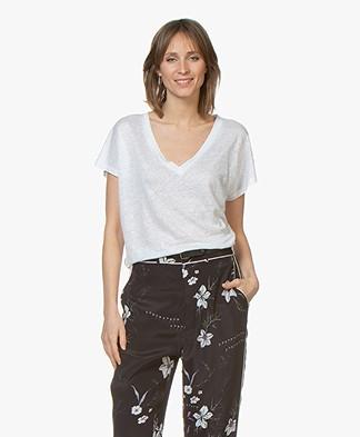 Drykorn Svana Linnen V-hals T-shirt - Wit
