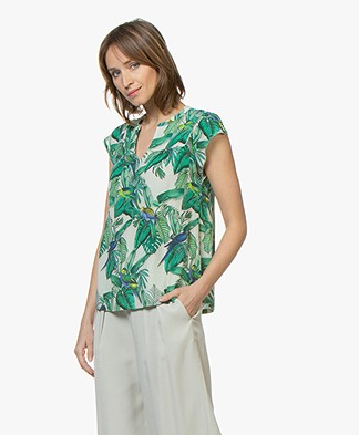 indi & cold Crepe T-shirt with Tropical Print - Dalia