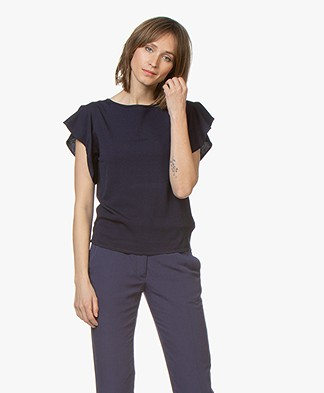 LaSalle Crepe Jersey T-Shirt with Butterly Sleeves - Navy