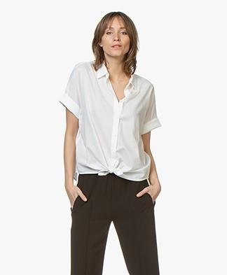 Rag & Bone Cotton Shirt with Tie Detail - White