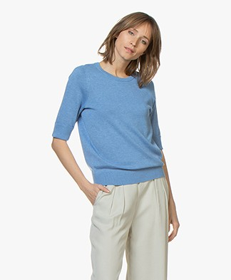 Repeat Cotton Blend Mid Sleeve Sweater - Blue Jeans