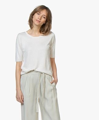 Sibin/Linnebjerg Naomi Fijn Gebreid T-shirt - Off-white