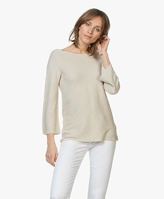 no man's land Sweater with Cropped Trumpet Sleeves - Soft Linen