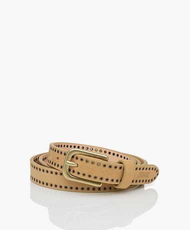 Closed Leather Belt with Eyelets - Barely Beige