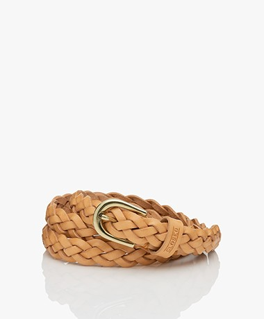 Closed Braided Leather Belt - Pale Walnut
