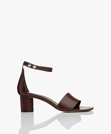 Filippa K Sandy Leather Block Heel Sandals - Burgundy