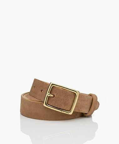 Rag & Bone Boyfriend Suede Leather Belt - Camel