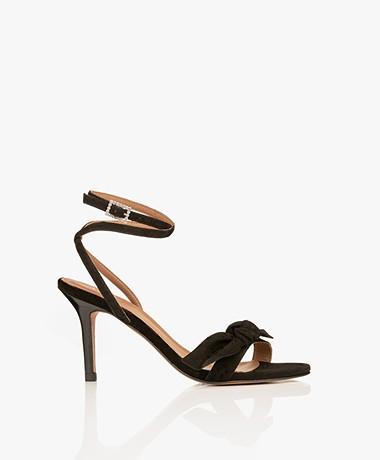 ba&sh Carmine Suede Leather Heeled Sandals - Black