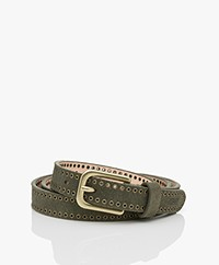 Closed Leather Belt with Eyelets - Dusty Pine
