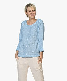Belluna Todler Embroidered Linen Blouse - Azul Melange