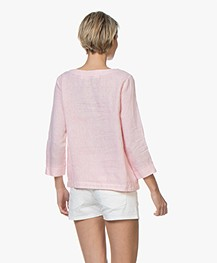 Belluna Todler Embroidered Linen Blouse - Rose Melange